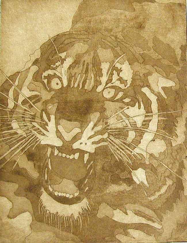 Tiger Druckgrafik von Paola Massei