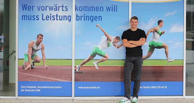 Sven Kniphals mit Sponsoren Deutsche BKK, WOBCOM