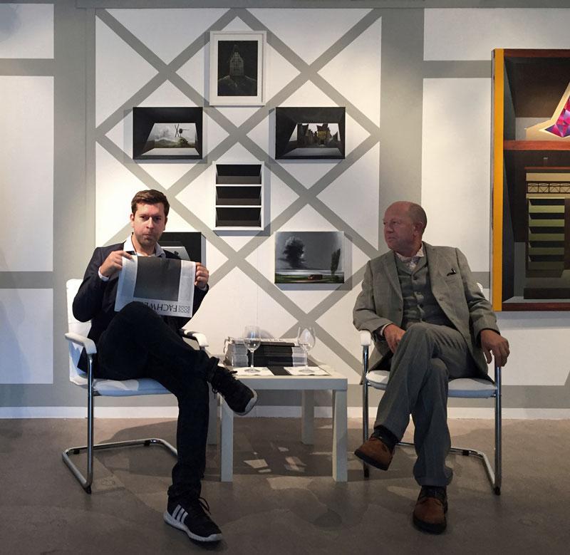 Titus Schade im Künstlergespräch mit Gerd Harry Lybke bei Junge Kunst