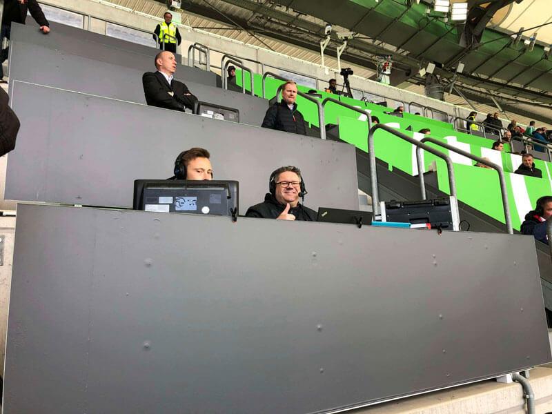 Wölferadio Lars Vollmering, Jan-Niklas Schildwächter, VfL Medienchef Sven Froberg