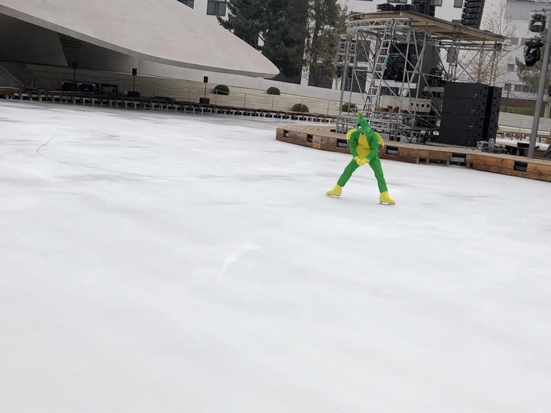 Bald steht der kleine grüne Drache nicht mehr alleine auf der großen Eisbühne / Foto: FLOW WOLF